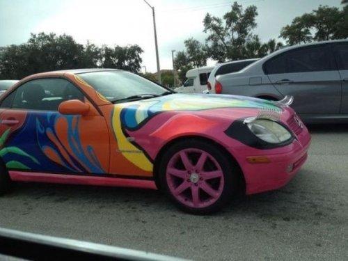 Ladies behind the wheel, driving cars, painting