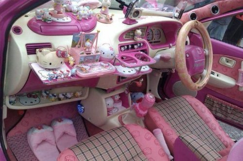Ladies behind the wheel, driving cars, pink