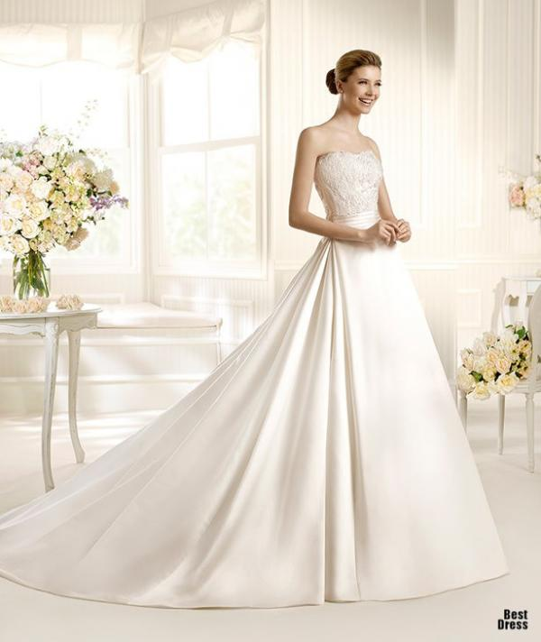 Best designer wedding dress, stylish gown, female, smile