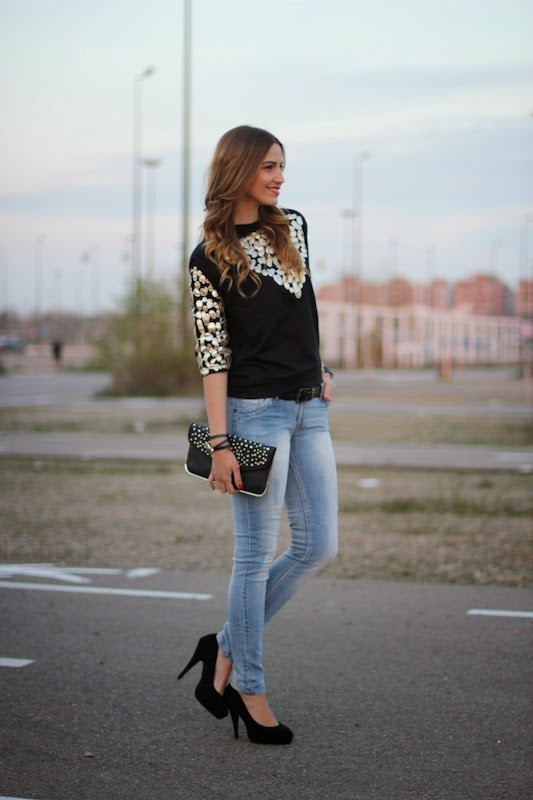 Cute lady, street style, clothes, outfit, denim, photography