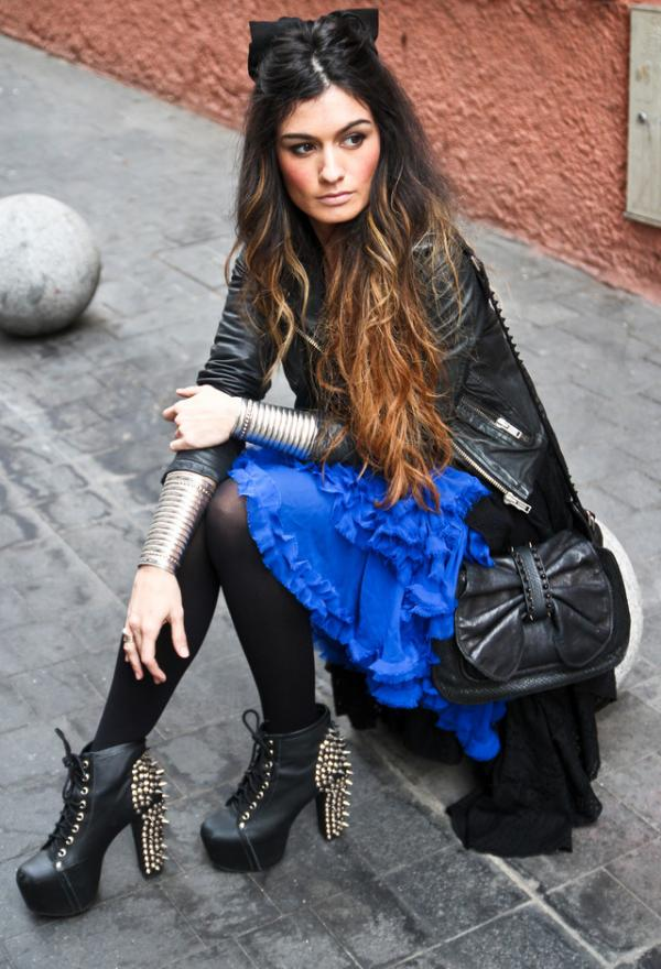 Fashionable women clothes, blue, outfits, model, photo