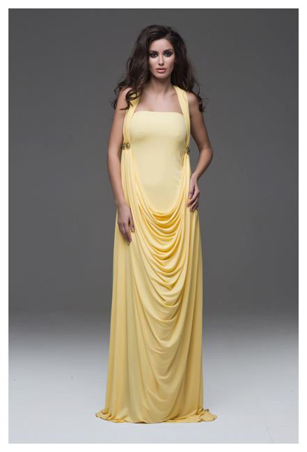 Inspirational evening dress, outfit, female, yellow