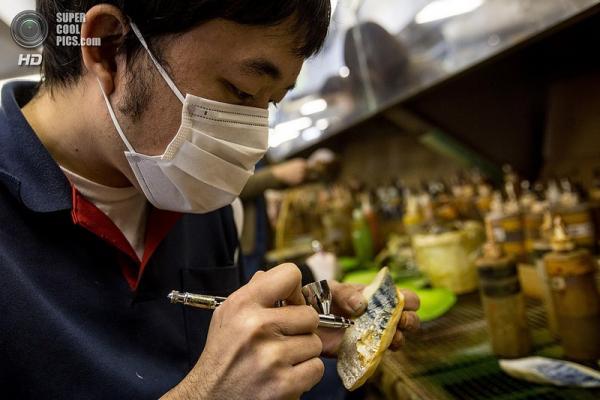 Japan, enticing culinary samples, man