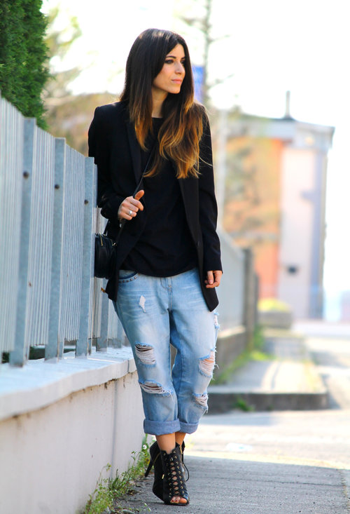 Ripped women jeans, fashion, outfits, lady, image