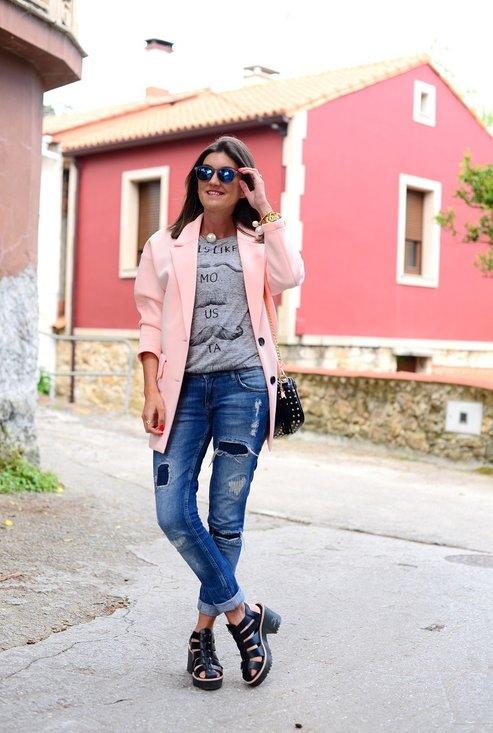 Stylish jeans, street style, denim, woman, photo