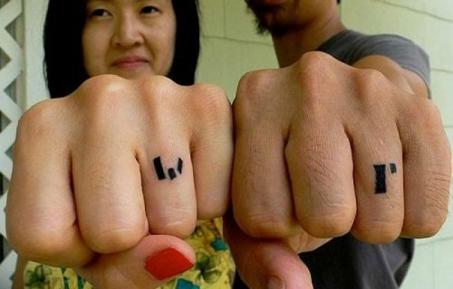 Tattoos instead of wedding rings, design, photography