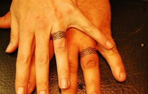Tattoos instead of wedding rings, design, photoshoot