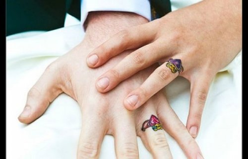 Tattoos instead of wedding rings, ideas, pics