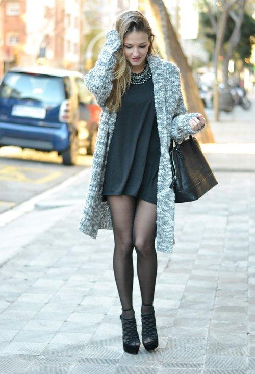 Black stylish dress, fashion, outfits, model, girl, street style