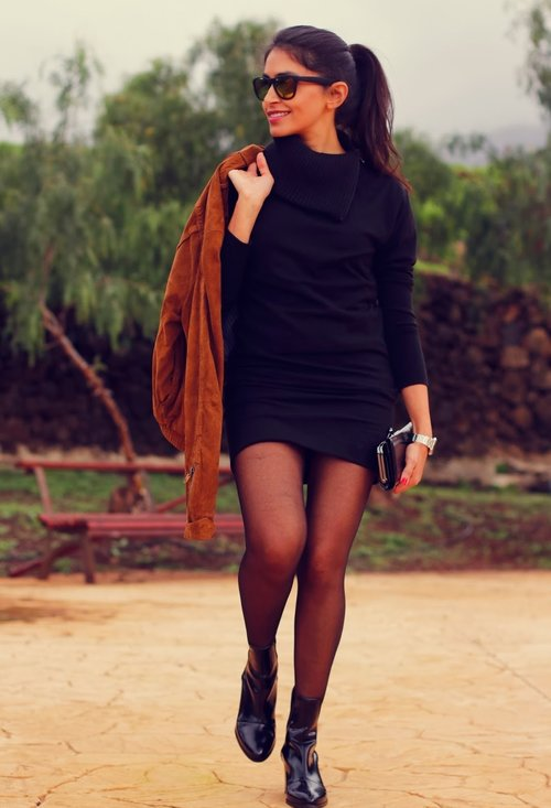 Black stylish dress, fashion, outfits, model, lady, picture