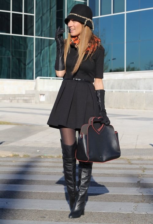 Fashionable black dress, fashion, outfits, female, picture