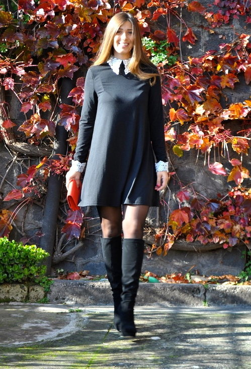 Fashionable black dress, fashion, outfits, woman, photo