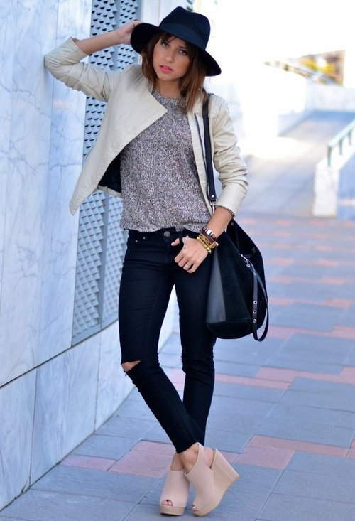 Fashionable street style, outfits, hat, woman, photo