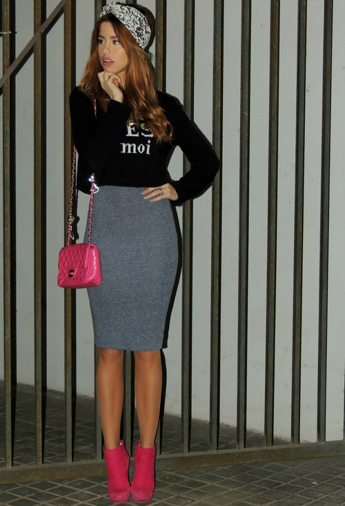 Model, fashion, street style, pencil skirt, woman, image