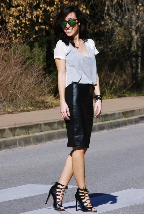 Model, fashion, street style, pencil skirt, woman, picture