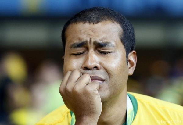 Frustrated Brazil man cry