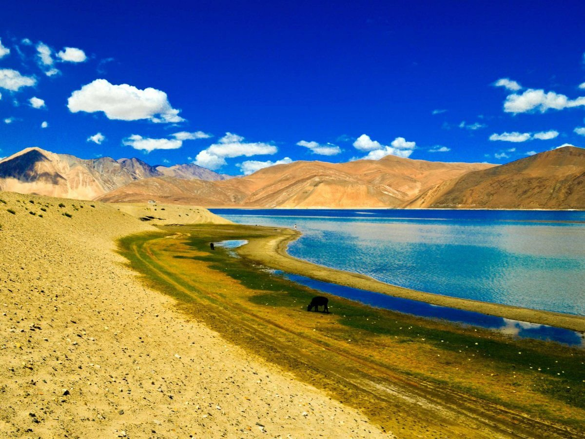 Pangong Tso Lake in the Himalayas between India and Tibet