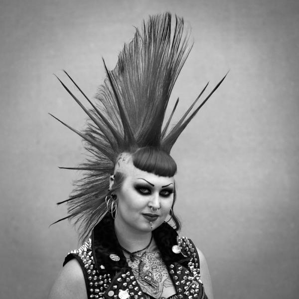 Punk rock festival in England, womans hairstyle
