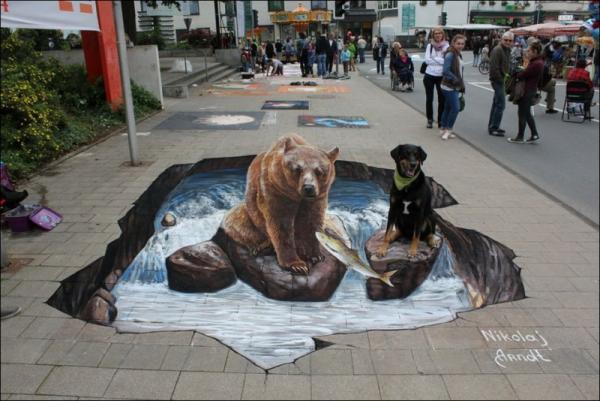 Three-dimensional street art, Nicholas Arndt, bear and dog