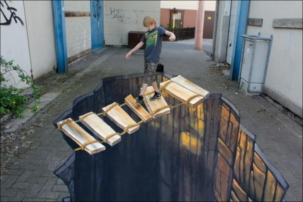 Three-dimensional street art, Nicholas Arndt, boy
