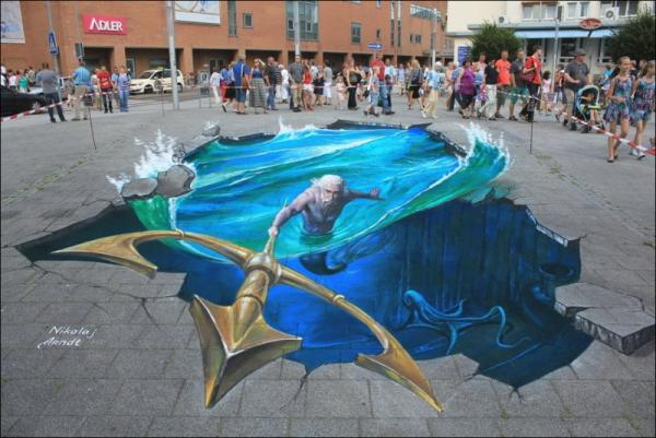 Three-dimensional street art, Nicholas Arndt, color photo