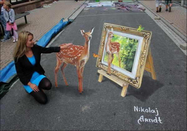 Three-dimensional street art, Nicholas Arndt, deer