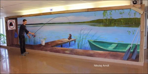 Three-dimensional street art, Nicholas Arndt, fishing