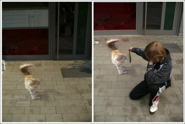Three-dimensional street art, Nicholas Arndt, kitty