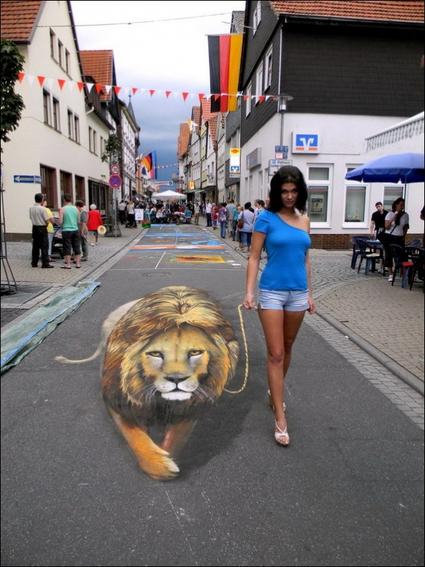 Three-dimensional street art, Nicholas Arndt, lion