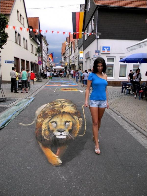 Three-dimensional street art, Nicholas Arndt, lion