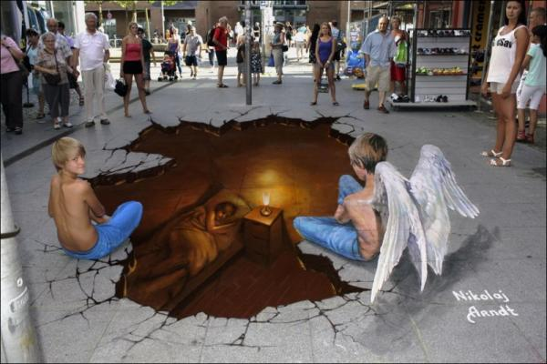 Three-dimensional street art, Nicholas Arndt, sleeping