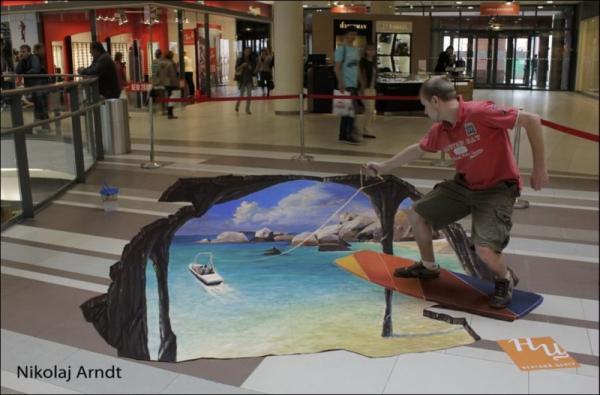 Three-dimensional street art, Nicholas Arndt, surfing