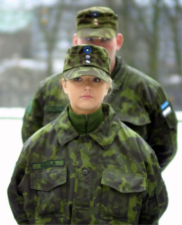 Woman in military uniform, Estonia