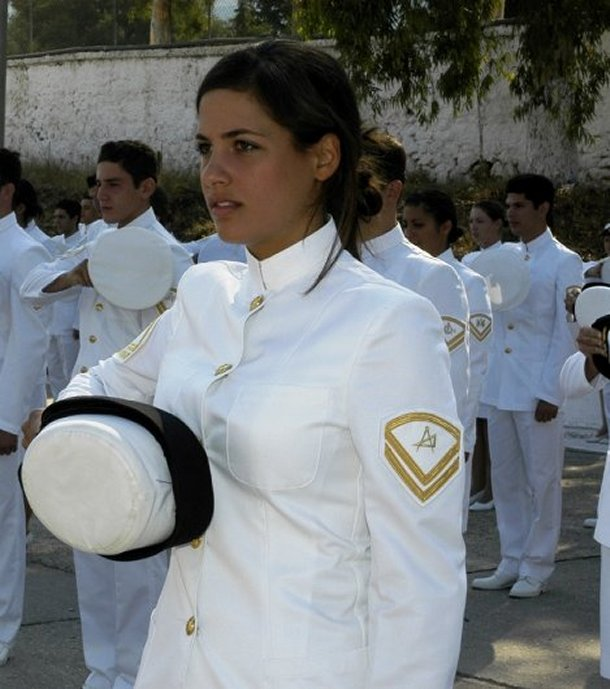 Woman in military uniform, Greece