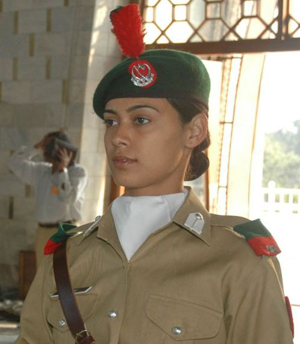 Woman in military uniform, Pakistan