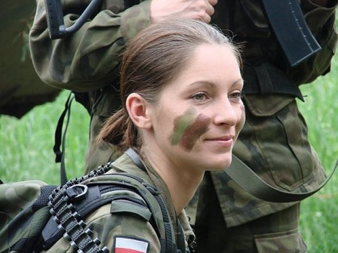 Woman in military uniform, Poland