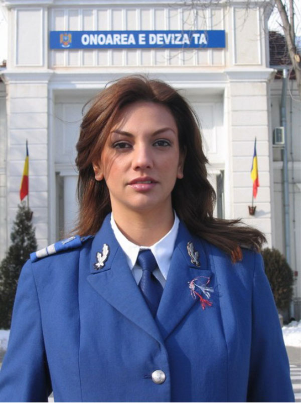 Woman in military uniform, Romania