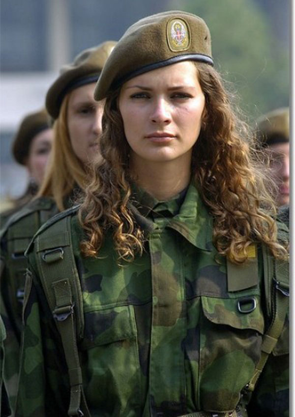 Woman in military uniform, Serbia