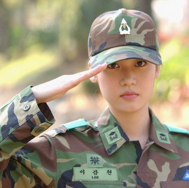 Woman in military uniform, South Korea