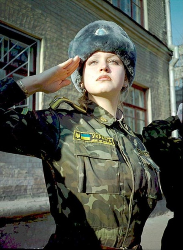 Woman in military uniform, Ukraine