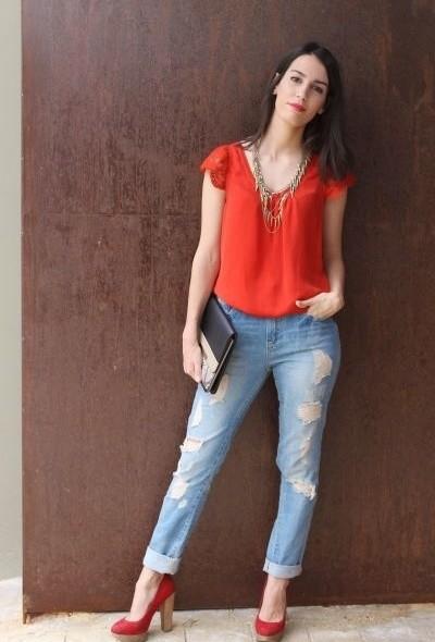 Fashionable orange female blouses  3