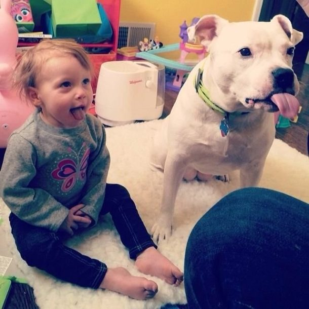 Kid and dog sticking his tongue out