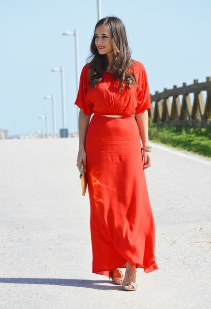 Red trendy female dress 1