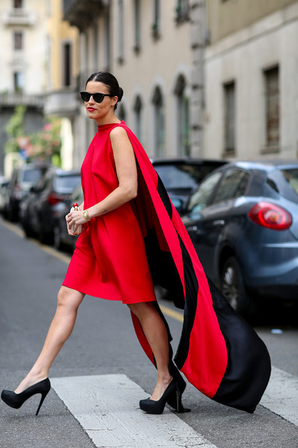 Red trendy female dress 2