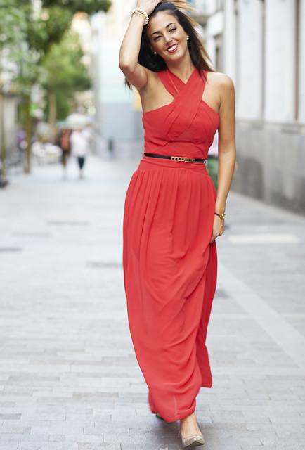 Red trendy female dress 3