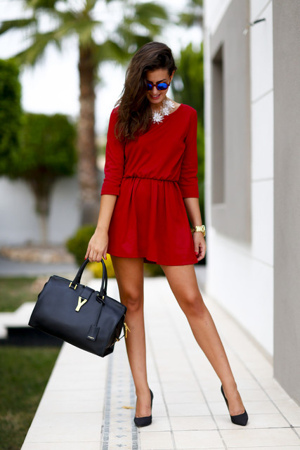 Red trendy female dress 6