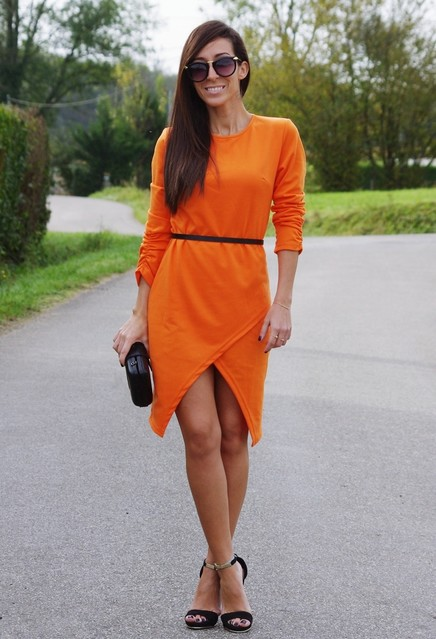 Stylish orange female dress 1