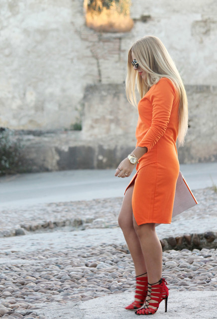 Stylish orange female dress 3