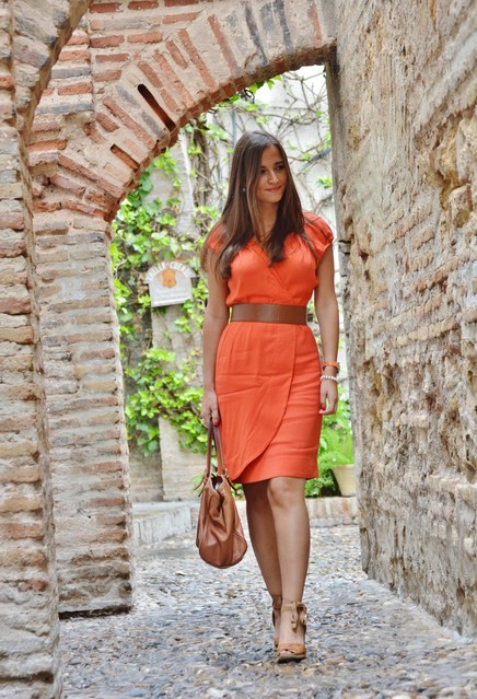 Stylish orange female dress 4