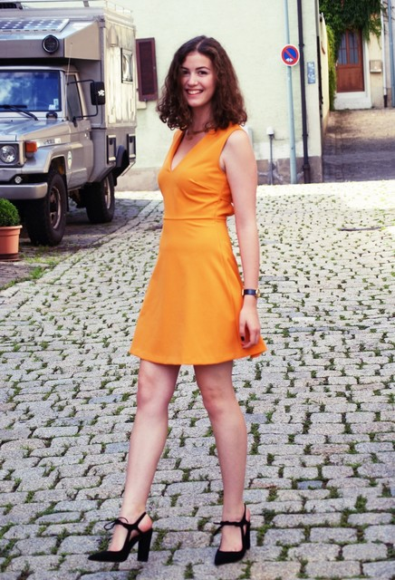 Stylish orange female dress 5